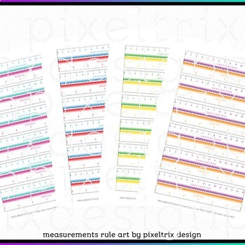 Clip Art *MEASUREMENTS RULE* 6inch Ruler Print Sheets