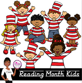 Clip Art~ March Reading Month Kids