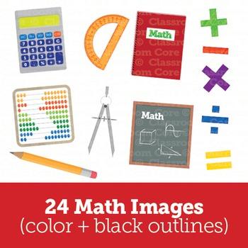 Clip Art: Math Bundle! 30 Borders, 30 Papers, & 24 Images