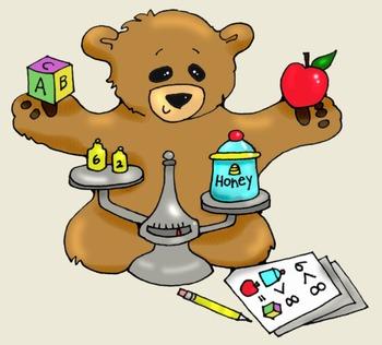 Clip Art: Math Writing Bears