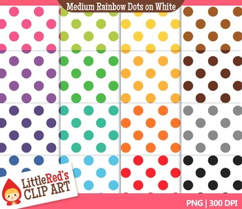 Medium Rainbow Dots Backgrounds - 16 Digital Papers