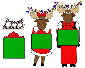 Clip Art~ Merry Christmoose!  Mr. and Mrs. Christmoose (Christmas Clip Art)