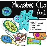 Clip Art: Microbes - 27 PNG Images B/W; TRANSPARENT; COLOR
