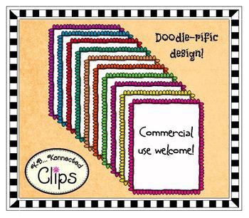 Clip Art - Mini Dot Doodle Frames in 10 Colors