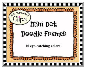 Clip Art - Mini Dot Doodle Frames in 10 Colors