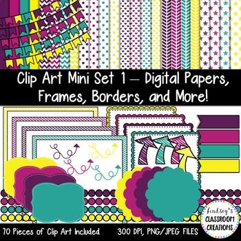 Clip Art Mini Set 1 - Digital Papers, Frames, Borders, and More