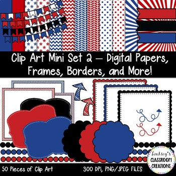 Clip Art Mini Set 2 - Patriotic Theme -Digital Papers, Frames, Borders, and More