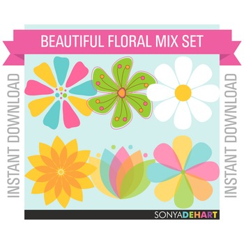 Clipart - Mixed Flowers