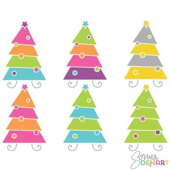 Clipart - Modern Christmas Trees