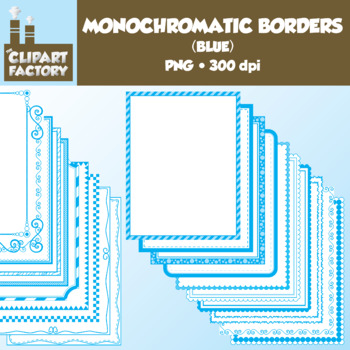 Clip Art: Monochromatic Digital Borders-Blue - 20 Borders