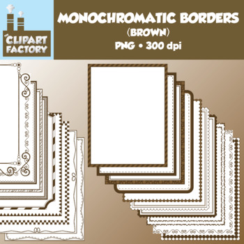 Clip Art: Monochromatic Digital Borders-Brown - 20 Borders