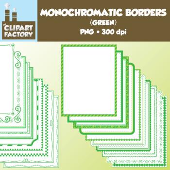 Clip Art: Monochromatic Digital Borders-Green - 20 Borders