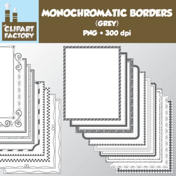 Clip Art: Monochromatic Digital Borders-Grey - 20 Borders