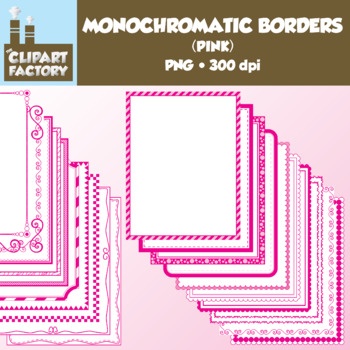 Clip Art: Monochromatic Digital Borders-Pink - 20 Borders