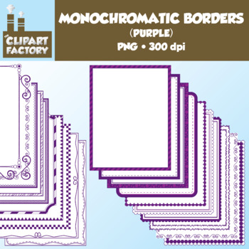 Clip Art: Monochromatic Digital Borders-Purple - 20 Borders