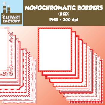 Clip Art: Monochromatic Digital Borders-Red - 20 Borders