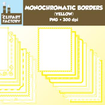 Clip Art: Monochromatic Digital Borders-Yellow - 20 Borders