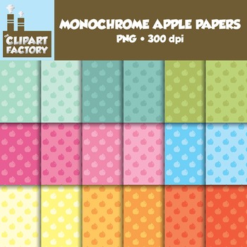 Clip Art: Monochrome Apple Pattern backgrounds - 18 Digital Papers