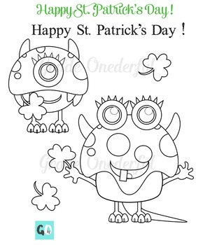St. Patrick's Day Monsters Clipart, Funny Monsters Clip Art