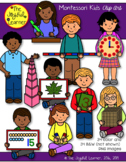 Clip Art: Montessori Kids (34 color & 34 BW Images)