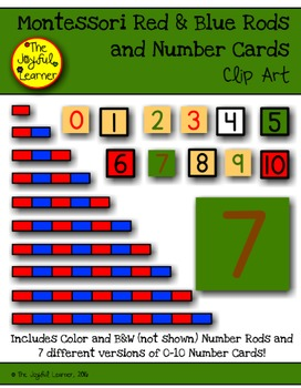 Clip Art: Montessori Red & Blue Rods and Number Cards