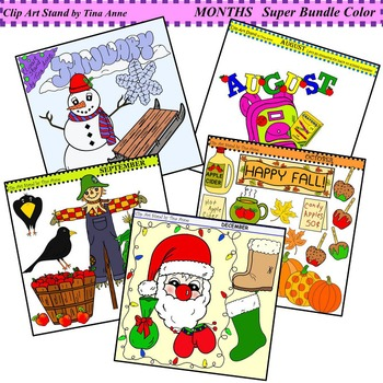Clip Art Months Colossal Bundle Color and Black and White
