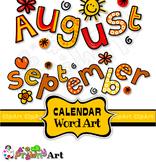 Clip Art Months of the Year Calendar Text Titles