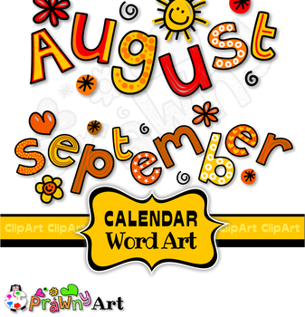 Clip Art Months of the Year Calendar Text Titles