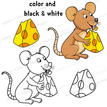 Clip Art Mouse and Cheese | Clipart Set