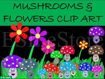 Mushrooms and Flowers Clip Art (Spring theme)