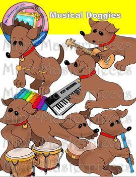 Clip Art: Musical Doggies, Dogs, Dachshunds