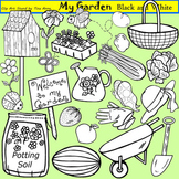 Clip Art My Garden in black and white