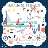 Clip Art: Nautical Clipart + Wave Borders