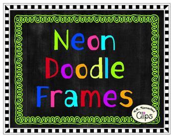Clip Art Neon Doodle Frames