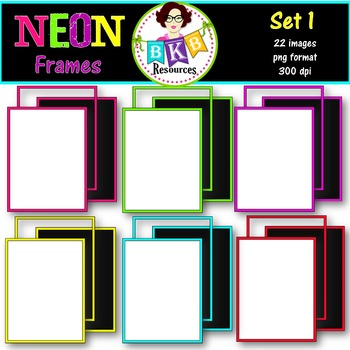 Clip Art - Neon Frames Set 1 - {Graphics for Commercial Use}