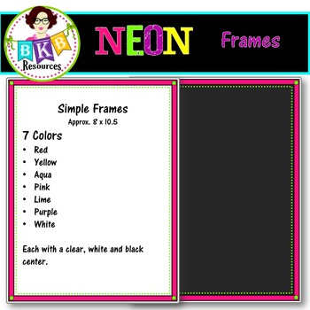 Clip Art - Neon Frames Set 2 {Graphics for Commercial Use}