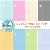 Clip Art: Notebook Paper Digital Papers for Personal and C