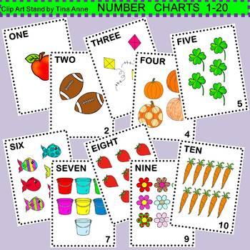 Clip Art Number Charts 1-20