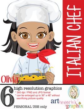 Clip Art - OLIVIA - female, girl, chef, student, digital g