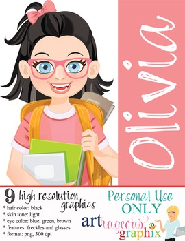 Clip Art - OLIVIA - female, girl, student, digital graphics - backpack