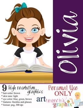 Clip Art - OLIVIA - female, girl, student, digital graphic
