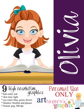 Clip Art - OLIVIA - female, girl, student, digital graphics - school book