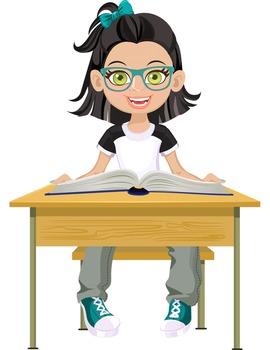 Clip Art - OLIVIA - female, girl, student, digital graphics - school book