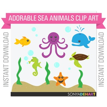 Clipart - Ocean Sea Creatures Set