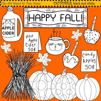 Clip Art October black and white