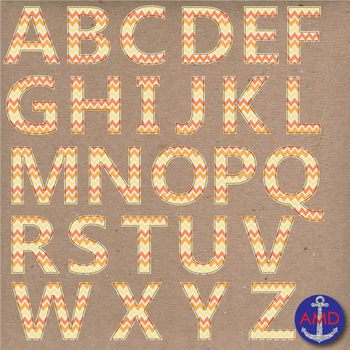 Clip Art: Orange Chevron Stitched Alphabet & Numbers Clip Art Set (Letter Tiles)