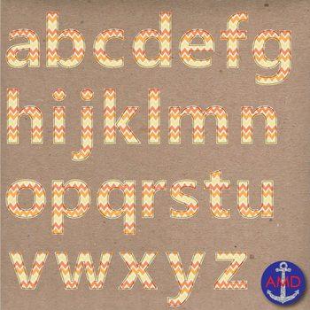 Clip Art: Orange Chevron Stitched Alphabet & Numbers Clip
