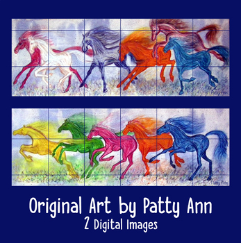 Clip Art Horses: Originals! Set of 2 Herds Painted in Pastels Digital Download!
