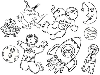 Clip Art~ Out of this Universe:  Space / Aliens