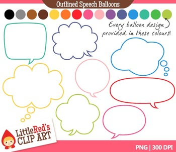 Speech Balloon Clipart - Outlined 120 Graphics